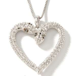 Diamond Accented Sterling Silver Heart Shaped Snake Pendant with 18