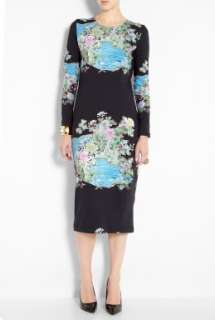 Preen by Thornton Bregazzi  Black Scuba Mini Kimono Print Dress by