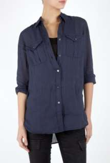 Theory  Navy Loose Fit Linen Utility Shirt by Theory