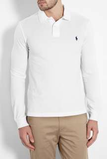 Polo Ralph Lauren  White Long Sleeve Slim Fit Polo by Polo Ralph