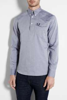 Fred Perry Laurel Wreath  Blue Poplin Pull Over Shirt by Fred Perry