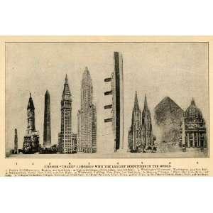1912 Print Titanic Ship Worlds Largest Buildings Comparison Cologne