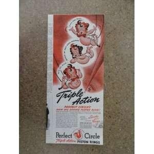 Piston Rings,Vintage 40s print ad (3 babies) Original vintage 1940