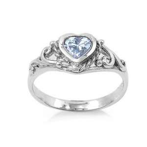 Sterling Silver Heart Baby Ring with Aquamarine CZ Stone