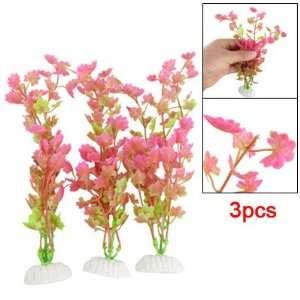 Como 3Pcs Aquarium Tank Plastic Floral Plant Ornament