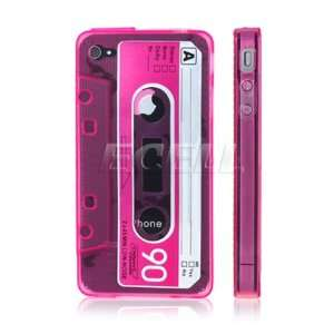 Ecell   HOT PINK TAPE CASSETTE RETRO SILICONE GEL CASE FOR