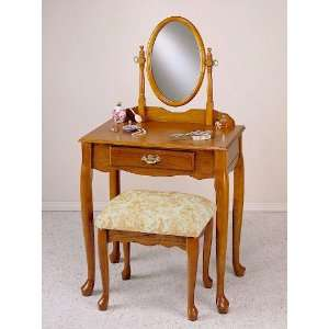 2PC Queen Anne Style Vanity Table Set With Vanity Stool