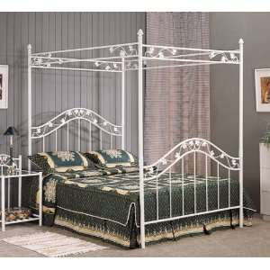 Full Size White Floral Metal Canopy Bed Headboard and