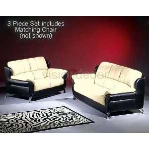 3pc Modern Contemporary Beige/Black Leather Sofa Loveseat Chair Set