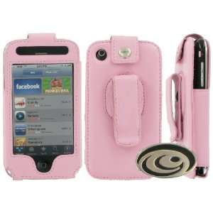 com Apple iPhone 3G Premium Pink Leather Case with Rotating Belt Clip