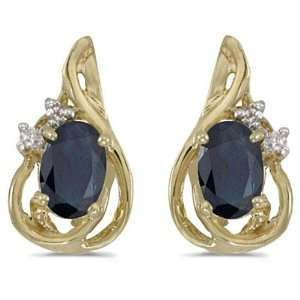 14k Yellow Gold September Birthstone Oval Sapphire And