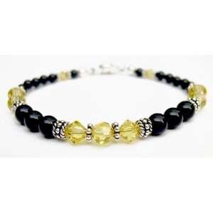 Bracelets Sterling Silver Beaded Swarovski Crystal Black Pearl