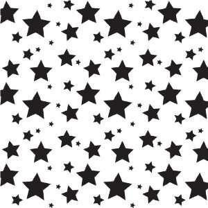 STARS WHITE & BLACK PATTERN Vinyl Decals 3 Sheets 12x12