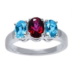 2.20 Ct 3 Stone Red Blue Topaz 925 Sterling Silver Ring Jewelry