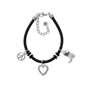 Cowboy Boot with Texas Flag Black Rubber Peace Love Charm Bracelet