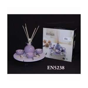 : Lavender Candle Holder Set with Diffuser REDEN5238: Home & Kitchen
