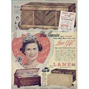 Miss America, Miss Jacque Mercer says: A LANE Cedar Hope Chest is the