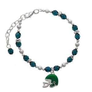 Small Green Football Helmet Navy Czech Glass Beaded Charm Bracelet