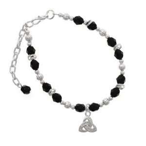 Silver Faux Stone Trinity Knot Black Czech Glass Beaded Charm Bracelet