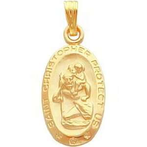 Gold Plated Saint Christopher Oval Charm 18 Jewelry