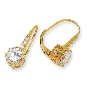 Gold plated Sterling Silver CZ Leverback Earrings West Coast Jewelry