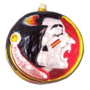 Florida State Seminoles (FSU) GLASSCOTS Blown Glass Head Ornament