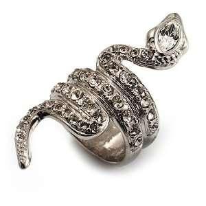 Silver Tone Swarovski Crystal Snake Ring   size 7 Jewelry