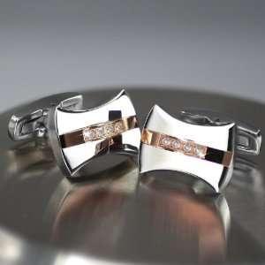 15carats of Real Diamonds   Curve Rose Gold Cufflink