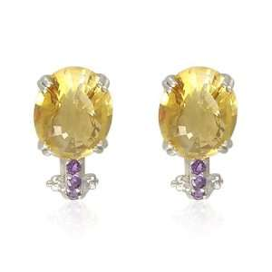 Oval Shaped Citrine with Round Cut Amethyst Accent Earrings Jewelry