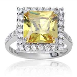 10k White Gold and Square Cut Yellow Cubic Zirconia Socialite Ring 9.0