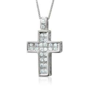 Gold Cross Diamond Pendant Necklace (H, I1 I2, 0.20 carat) [Jewelry