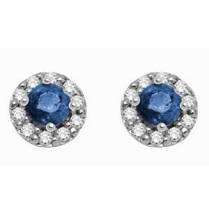 10k White Gold Sapphire and Diamond Earrings (.06 cttw, H I Color, I2