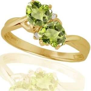 10k Yellow Gold Peridot and Diamond Heart Ring (.02 cttw