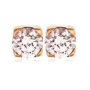 18k Rose Gold Pink Diamond Stud Earrings (.16 cttw) Jewelry