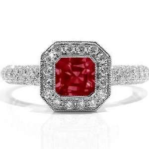 34Ct Emerald Cut Ruby & VS Diamond Engagement Ring 18k Gold Jewelry