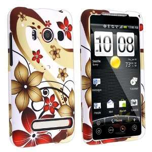 White / Red Fall Flowers Snap on Rubber Coated Case for