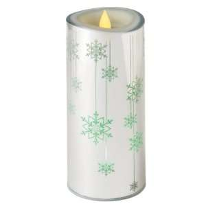 Color Changing LED Lighted Flameless Silver Snowflake Christmas Candle