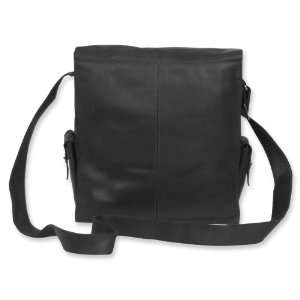 Black Leather Flap Over Messenger Bag Jewelry
