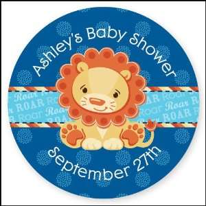 Boy   24 Round Personalized Baby Shower Sticker Labels Toys & Games