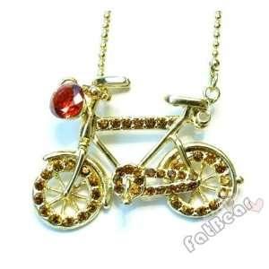 Bike Crystal Stones Pendant Necklace