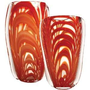 Twos Company Tozai Firefly Red Swirl Vase, Hand Blown Glass, Set of 2