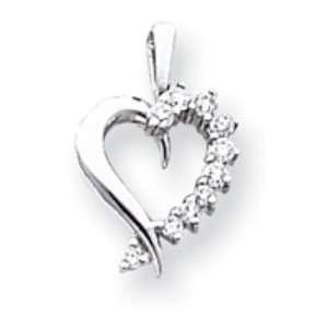 14k Gold White Gold AA Diamond heart pendant Jewelry