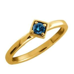 Round Blue Diamond Gold Plated Sterling Silver Ring Jewelry