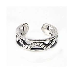 Sterling Silver Open Wavy Rope Band Adjustable Toe Ring Jewelry