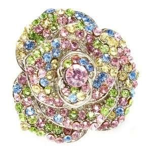 Designer Inspired Multi color Crystal Flower Blossom Stretch Ring
