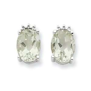 Sterling Silver Oval Green Amethyst & Diamond Post
