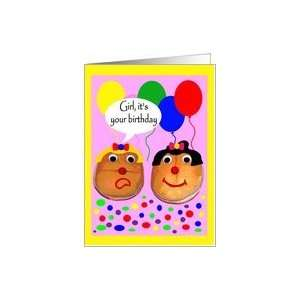 Birthday to Female, Girl hamburger buns with balloons and