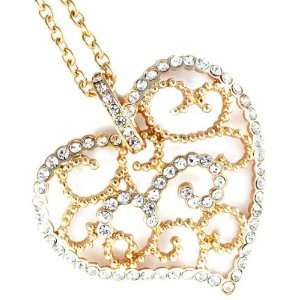 Gold Tone Heart Shape Crystal Necklace Jewelry