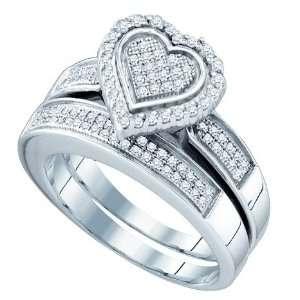 2pc. Heart Shaped Micro Pave Diamond Wedding Set  Size 7  Jewelry