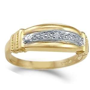 CZ Fashion Band 14k Yellow Gold Ring Right Hand Cubic Zirconia, Size 6